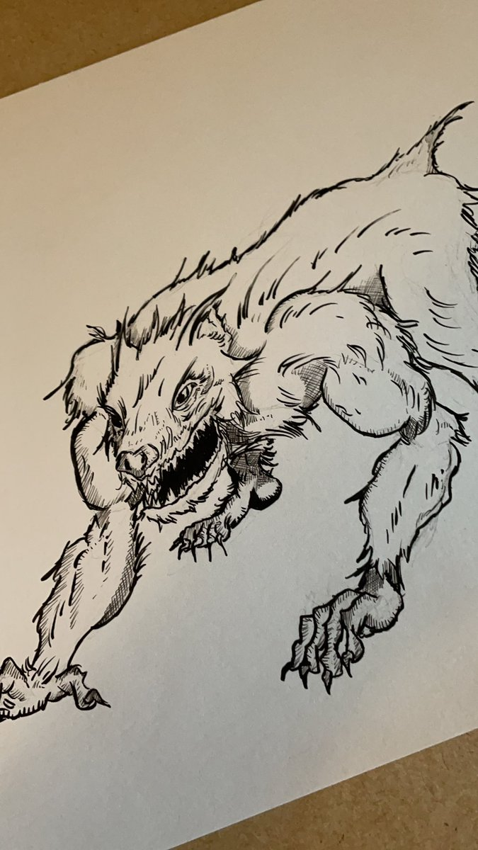 I am thinking of doing some sort of project with this wolf-like beast(a journal cover, maybe a t-shirt).  What color do you think it should be?  #art #werewolf #inkart #artist #drawing #drawingart