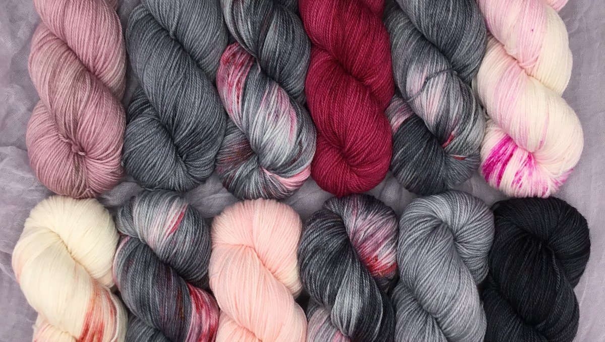 This is You Look Beautiful Baby from our The Walking Dead Collection! Paired here with several coordinating skeins.  #lolodidit #yarn #indiedyed #handdyedyarn #knit #knitting #crochet #youlookbeautifulbaby #thewalkingdead #twd #twdyarn