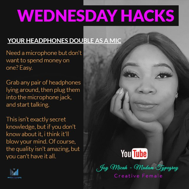 So one side of your earpiece wont work again? It can still come in handy as a manageable microphone, no need to dispose it yet.  #Wednesdaytechhack #youtuber #Madamtypegrey #covid19 #WednesdayMotivation #WednesdayMotivation