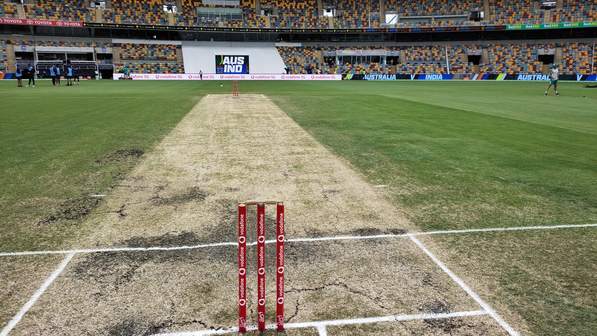 It is the final day of the Border-Gavaskar series and that's the pitch for Day 5. A very gentle drizzle at the moment but play should start soon. #AUSvIND