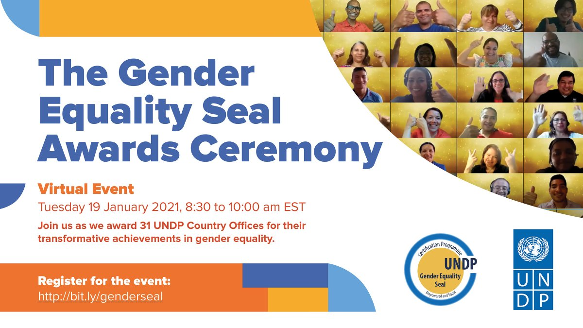 #GenderEquality starts with us.   Join us on 19 January at 8:30am EST as we honor @UNDP country offices that are helping to accelerate progress on the @UN global gender equality goals:  #SDG5 #GenderSeal
