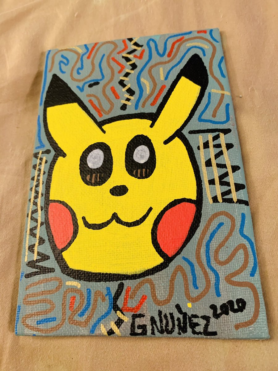 Whacked pikachu lol #artvsartist2020 #miami #florida #newage #love #peace #share #store #fashion #different #selftaught #gabriel #nunez #popart #trendy #expressionism #color #gallery #art #artist #abstract #color #pastel #mixedmedia #patterns