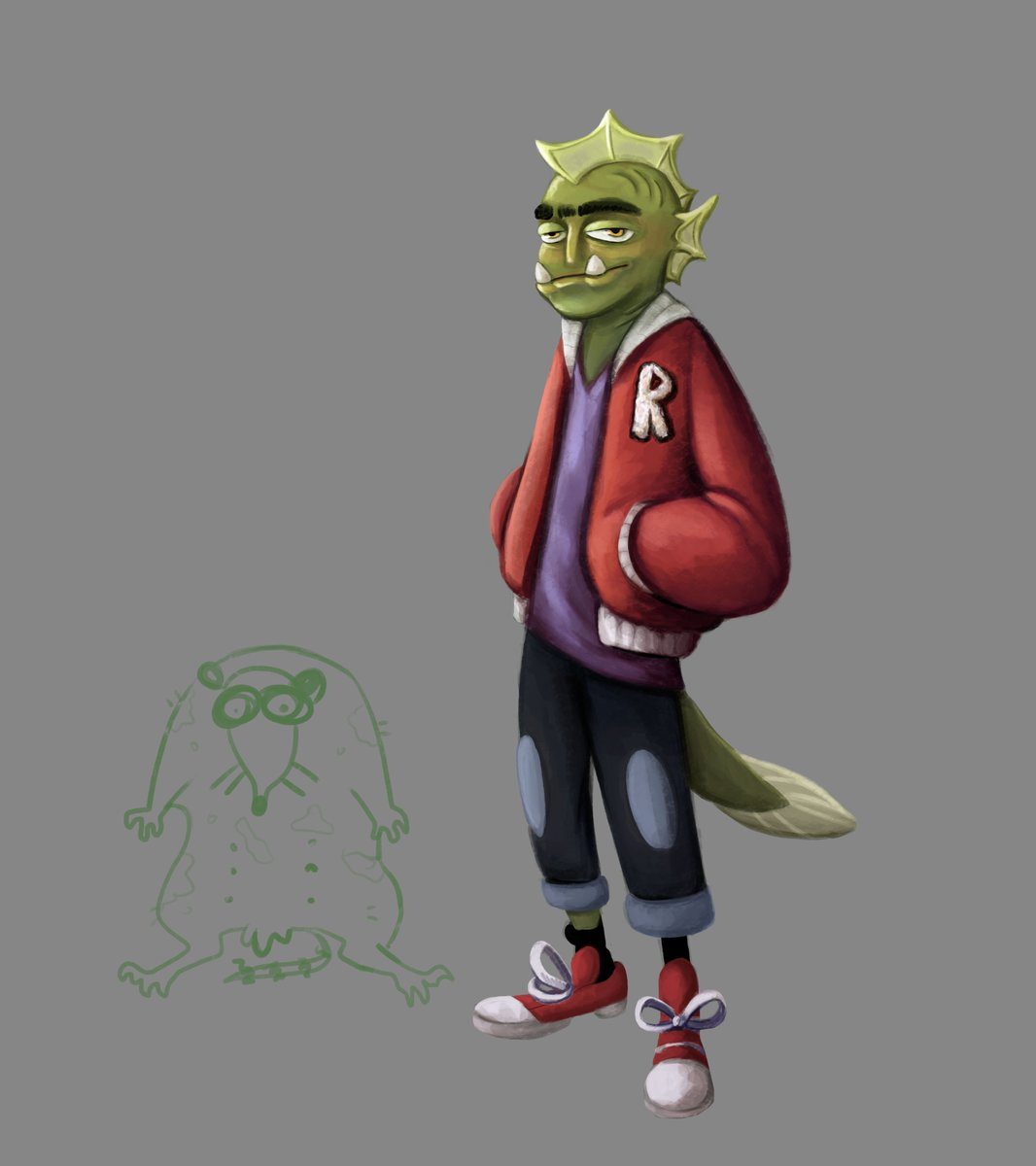 Some fish guy for one of @CainSparrow projects #illustration #drawing #art #digitalart #characterdesign