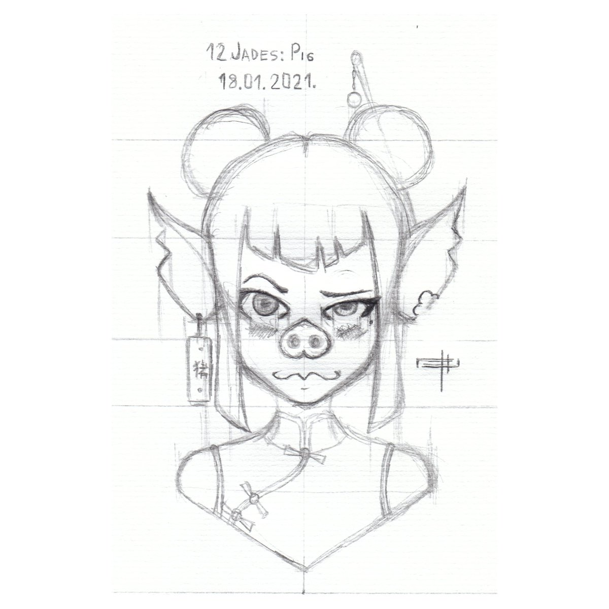 """[18.01.2021.] - """"12 Jades: Pig""""  Pig is generaly kind though a mysterious character  #dailyart #pencil #pencilart #ilustration #drawing #sketch #pig #oc #original  #femaleoc #female #chinesecalendar #chinesezodiac"""