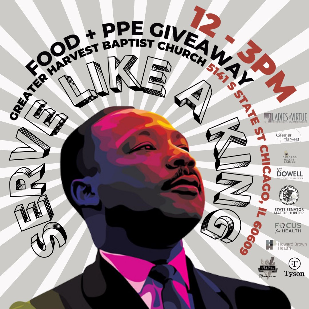 🖤 We want to extend a profound thanks to all our wonderful partners for helping make today's giveaway, in honor of MLK, a grand success:  @LOVChicago  @SenMattieHunter  @AldPatDowell3rd  @GHMBCChicago  @TysonFoods  @howardbrownhc  @focusforhealth   #MLKDay#COVID19