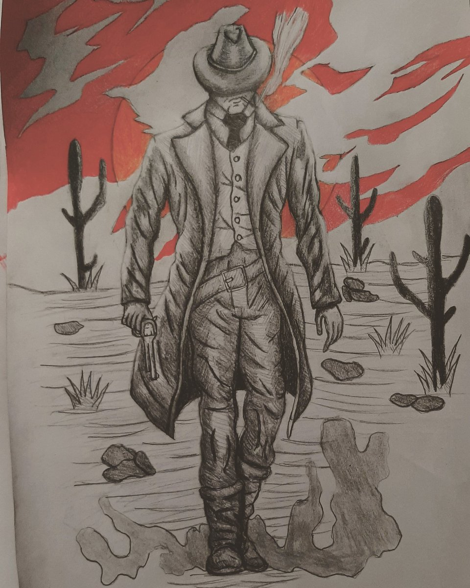 Cold blooded Outlaw #outlaw #wildwest  #Wilderness #Cowboy #gunslinger #drawing  #sketch  #quicksketch #pencildrawing #redsky