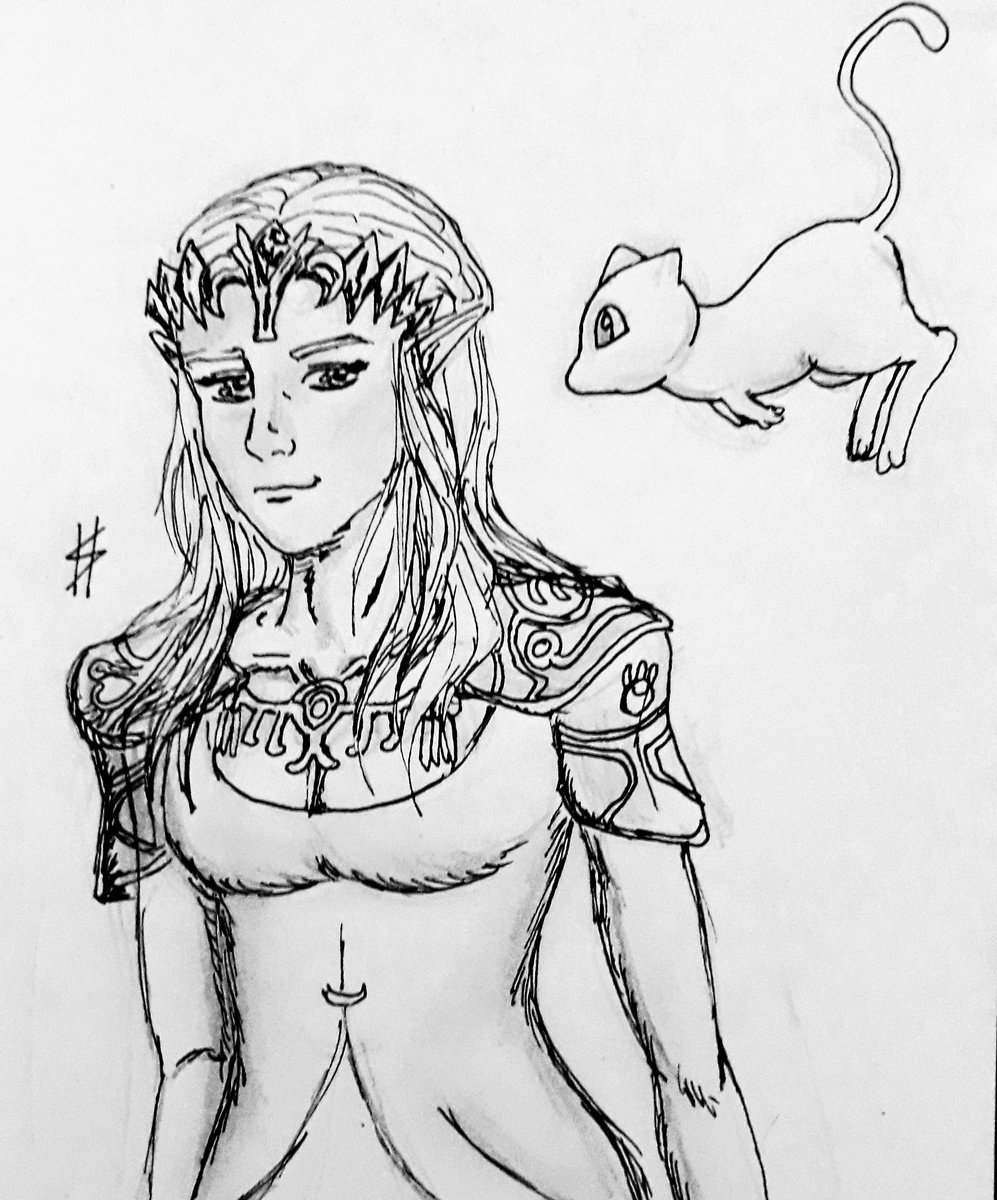 Zelda and Mew. (Legend of Zelda x Pokémon)  #ゼルダの伝説 #LegendOfZelda #Zelda #ZeldaBreathoftheWild #Nintendo #Pokemon #gamers #anime #sketch #fanart #cute #drawing #pencilart #artwork #ArtistOnTwitter #Wii #pokemonmasters #art #artontwitter #sketchbook #Sketchドロー