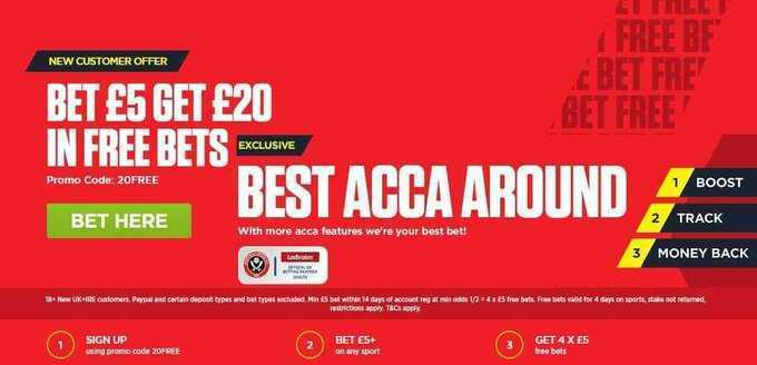 Ladbrokes The Home Of British Betting Boost/track/money back on your Accumulators odds boost & Super Price Boosts  🔴New Customer Sign Up Offer £20 Free Bet 🔴Bet £5 Get £20 In Free Bets get offer below 🔴  18+ T&Cs Apply. #ARSNEW #AFC #NUFC #MNF #PL,-