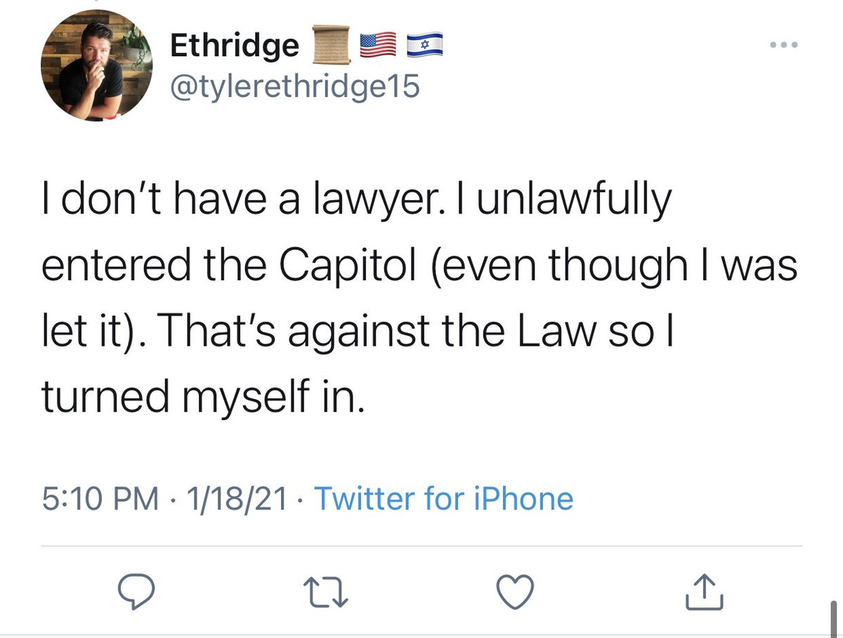 Capitol terrorist Tyler Ethridge's tweet confession will make it more difficult for his lawyer. We archived it. #PastorParler   📲: