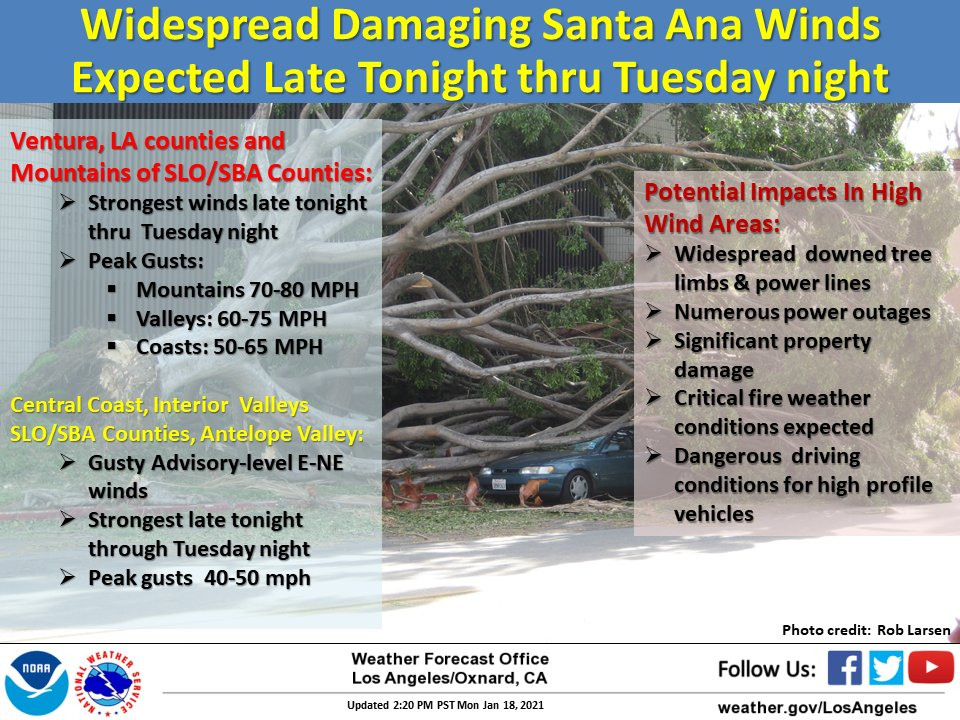 High Wind Advisory for Motorists - through Tuesday night - watch for downed tree limbs and power lines; be aware of high profile vehicles; keep your distance. @NWSLosAngeles #CAwx https://t.co/nSazLozkf6