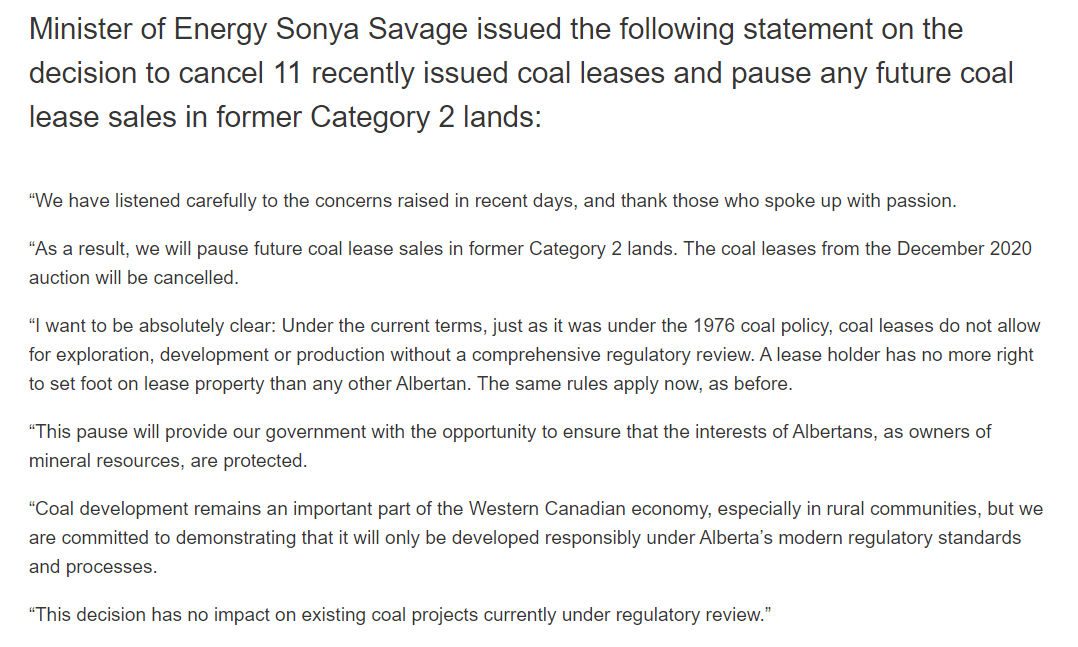 Uhhhh wow ok so after immense public pressure, the #ableg government has cancelled 11 recent coal leases. #cdnpoli