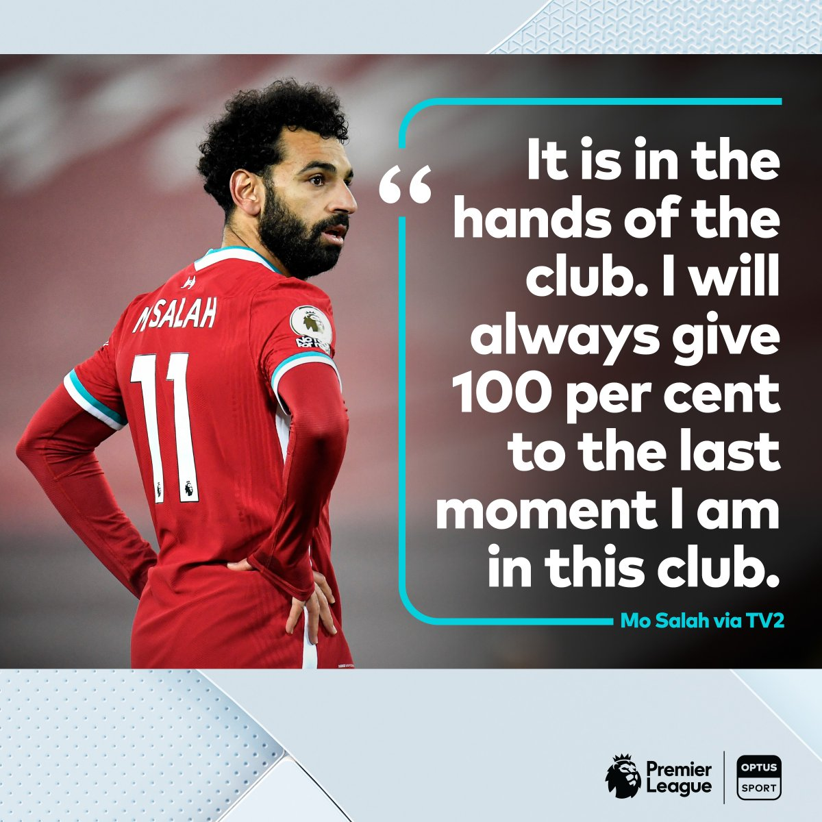"""""""I want to stay as long as I can"""" 👀  Jurgen Klopp has played down speculation linking Mo Salah away from Liverpool before, but the Egyptian has made his long-term commitment clear.  #PL #OptusSport"""