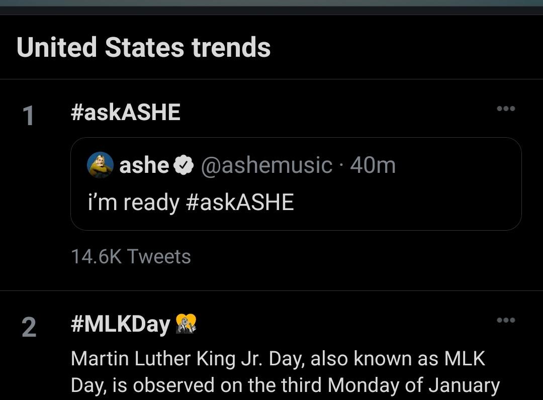 WE'RE TRENDING @ashemusic #askASHE
