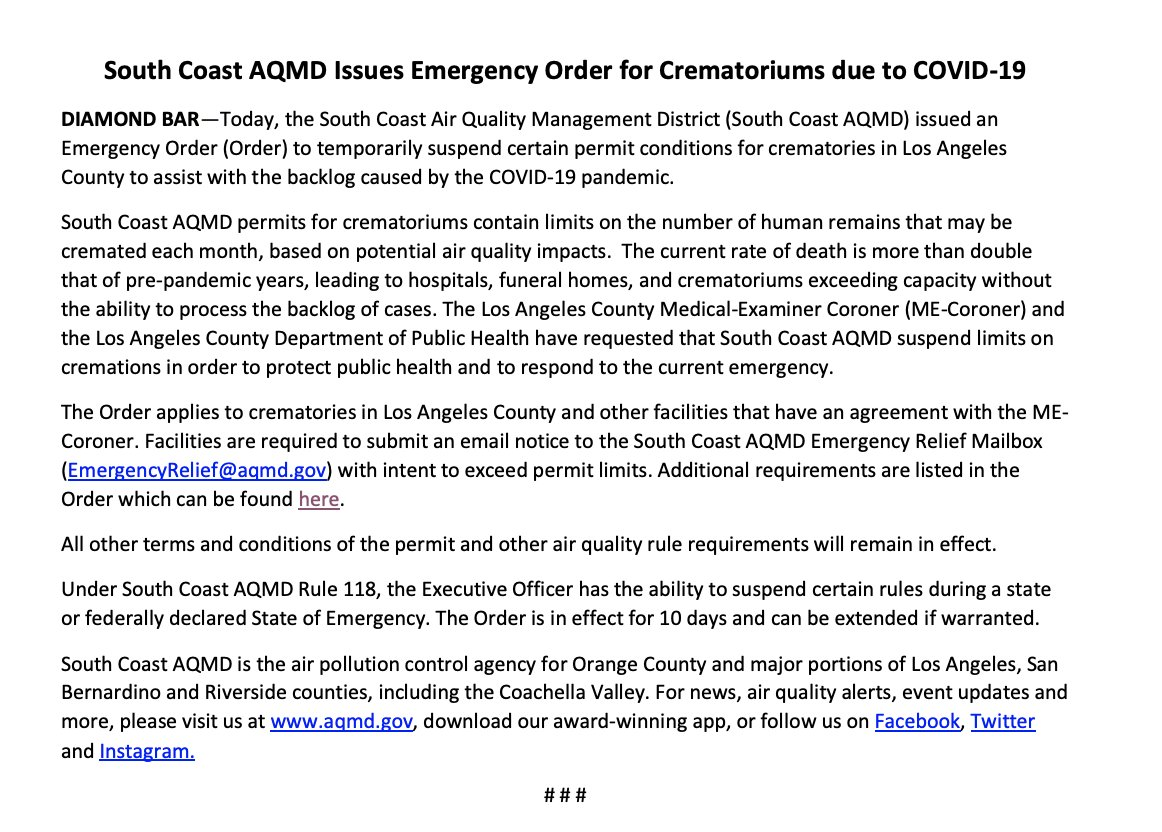 """In Los Angeles County, limits on cremations have been lifted in order to assist crematoriums with a """"backlog"""" caused by COVID-19 deaths.   So many people have died they need permission to cremate more bodies. Cremations pollute the air so they needed a regulator to lift limits."""