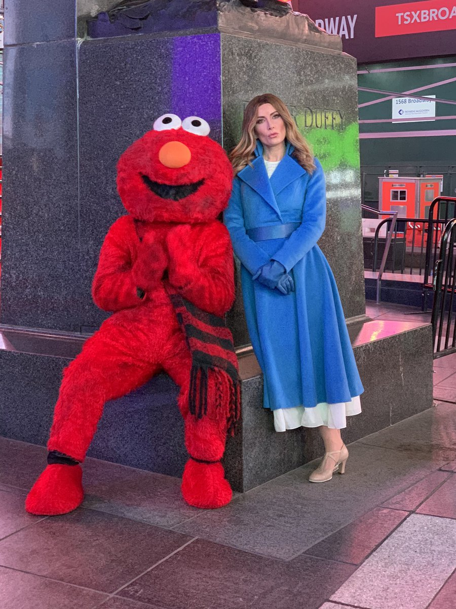 Why is #Benania hanging outside @tkts with this Elmo? Find out tonight for my FINAL SKETCH on the @colbertlateshow, produced and directed by the amazing @Jakeplunkett!!
