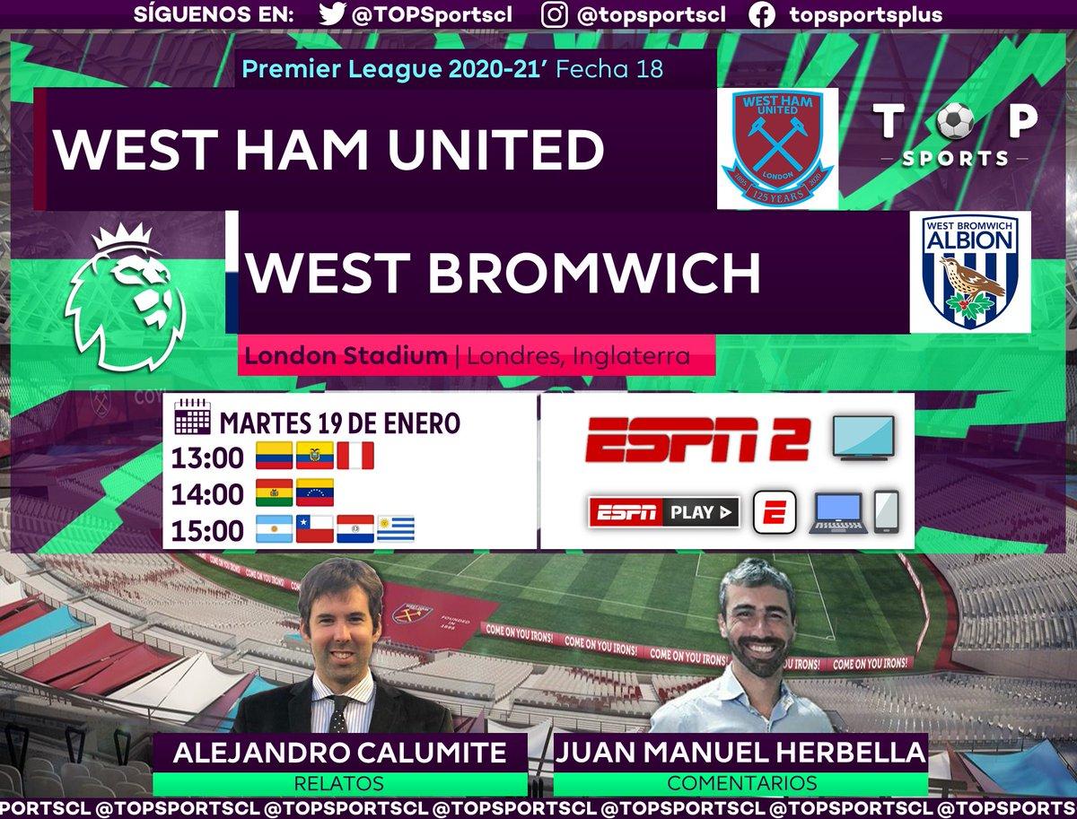 #PremierLeague 🏴⚽️ Fecha 18 West Ham [@WestHamEspanol] 🆚 West Bromwich [@WBA] 🎙️ Relatos: @alecalumite  🎙️ Comentarios: @JuanHerbella  🤳 #PREMIERxESPN | #WHUWBA #PL 📺 ESPN 2 Sudamérica 📱💻 ESPN Play 🔃❤️