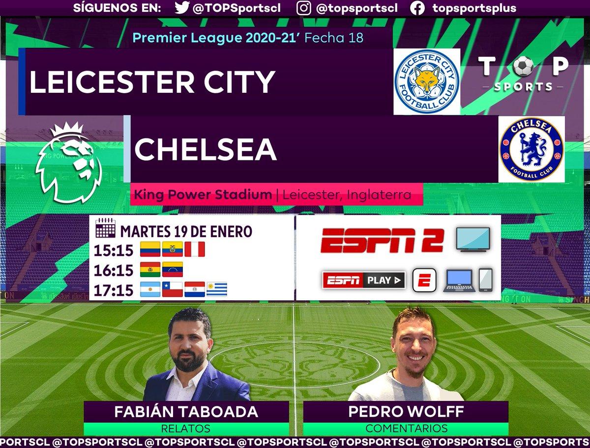 #PremierLeague 🏴⚽️ Fecha 18 Leicester City [@LCFC] 🆚 Chelsea [@ChelseaFC_Sp] 🎙️ Relatos: @FabiTaboadaok  🎙️ Comentarios: @WolffPedro  🤳 #PREMIERxESPN | #LEICHE #PL 📺 ESPN 2 Sudamérica 📱💻 ESPN Play 🔃❤️