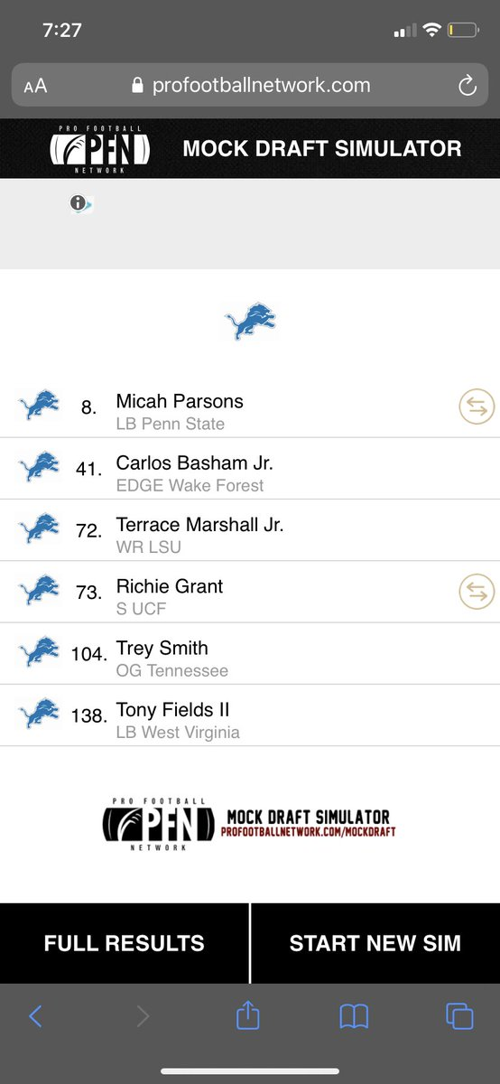 How did I do in my first Post Holmes mock draft I moved back just 1 spot with Carolina still got Parsons and added a 73rd 3rd round pick! https://t.co/SyIGaRK1yn