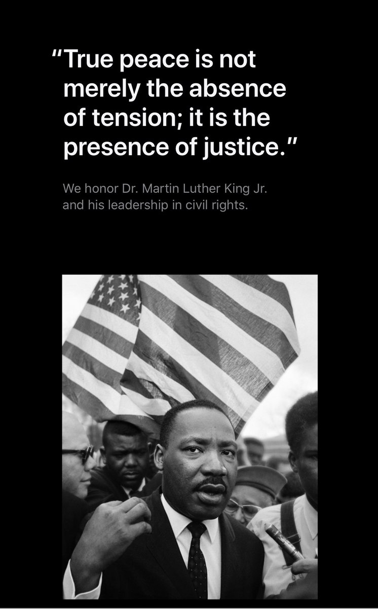 Thank you Dr. King for your leadership and your message as it lives on and heard everyday.  Image courtesy from @Apple.
