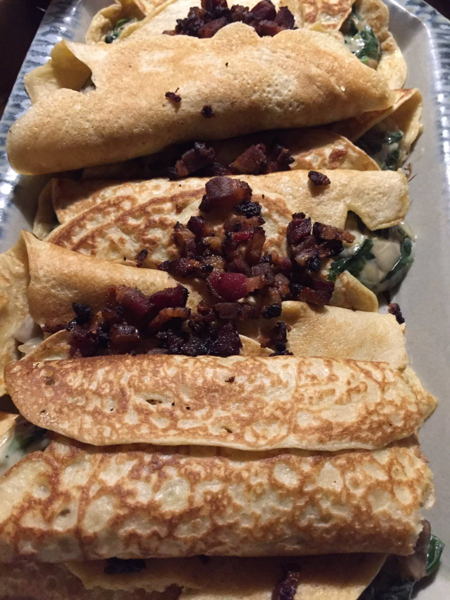 Tonight's farm table includes savory blintzes made with spinach, mushrooms, bacon, and cheese. #Paris #farm #agriculture