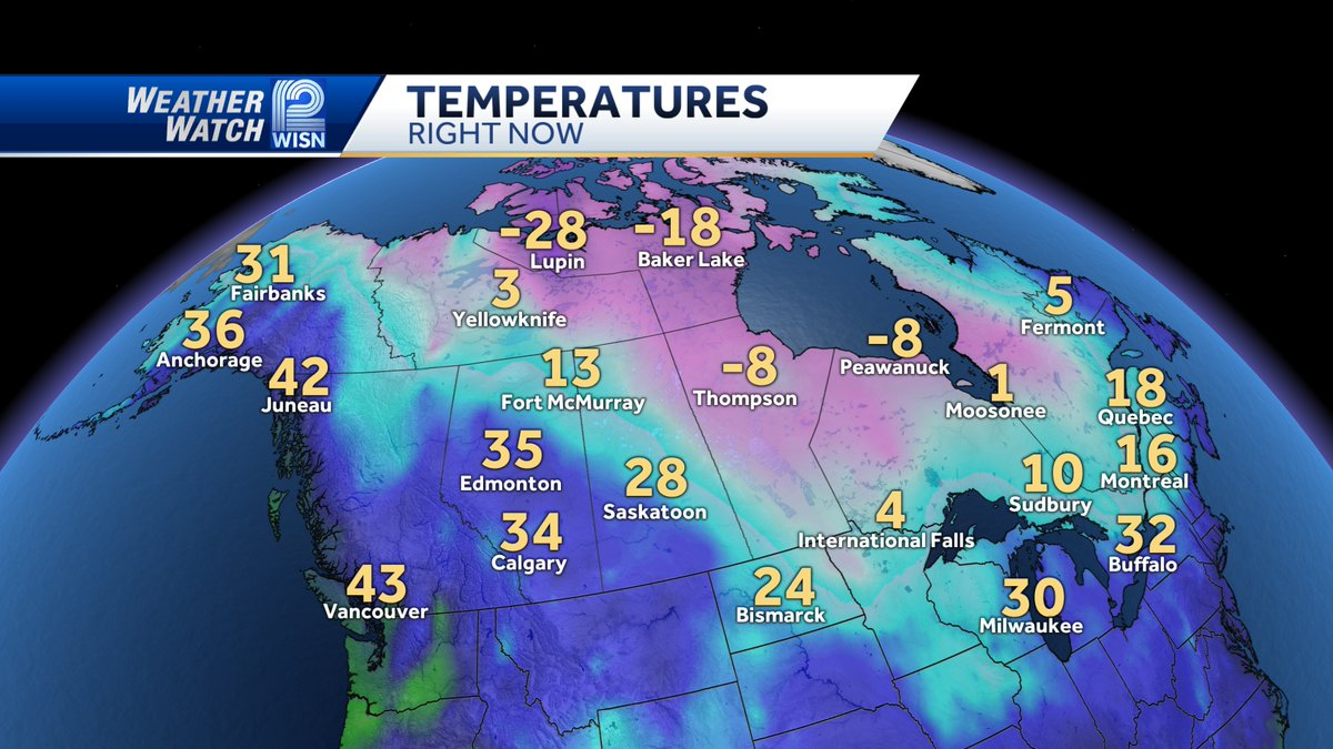 The arctic air finally makes a visit to Canada. It will be colder here tomorrow but nothing like those cold temps. And check out Alaska. We are colder than they are.