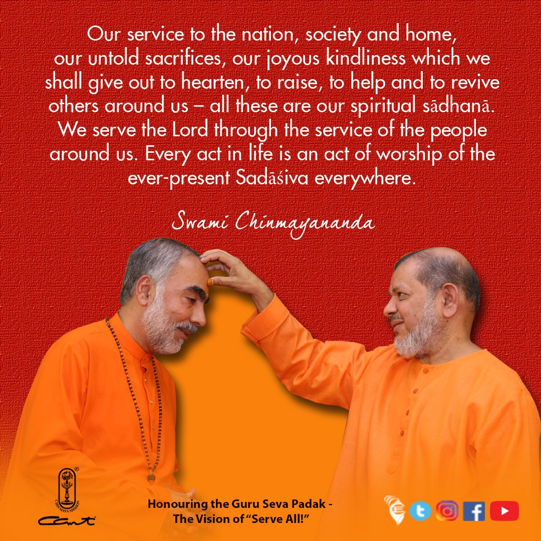 "Today we #celebrate the glorious Guru Parampara that is but the very foundation of Chinmaya Mission for on January 19th 2017, Swami Tejomayananda handed over the ""Guru Seva Padak"" of the Global Head of Chinmaya Mission to Swami Swaroopananda. ⠀ #chinmayamission #sanatandharma"