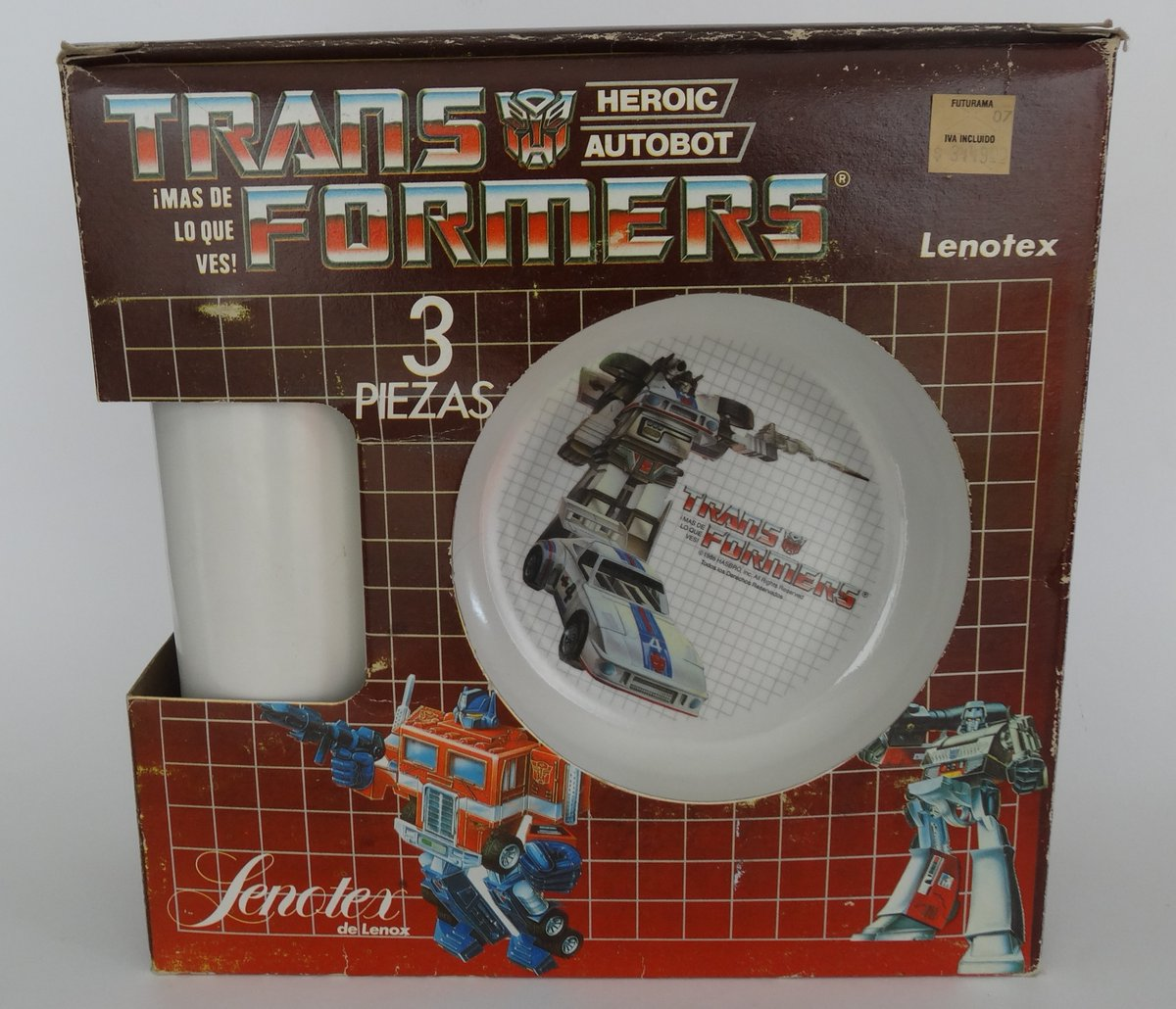 Three piece meal set, Megatron & Prime plate, Jazz bowl with unmarked cup/tumbler made in Mexico under Hasbro Licence by Lenotex, 1986. #transformers #g1transformers
