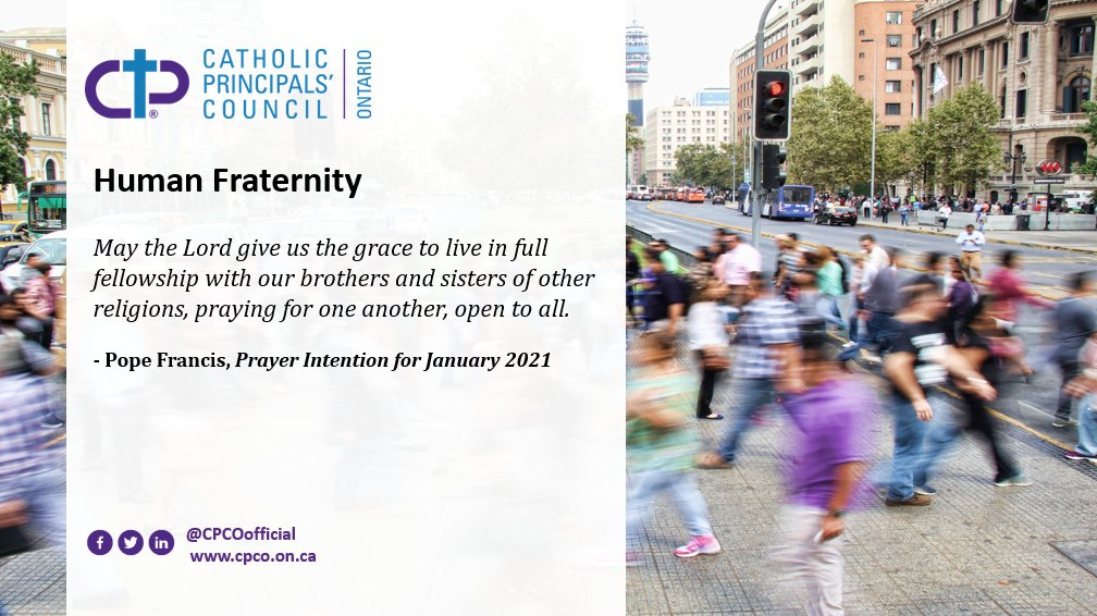 Read Pope Francis' prayer intention for January 2021: Human Fraternity.  #PopeFrancis #January #Prayer #Pray #OntEd #PrayerIntention #CatholicConvo