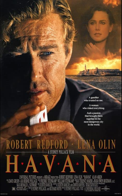 """Lena Olin carries over to Movie 3,720 """"Havana"""". 6 out of 10. A poker player falls for the wife of a revolutionary on the eve of #FidelCastro's 1959 coup. #RobertRedford #RaulJulia #AlanArkin #SydneyPollack #Cuba #casino #gambling #smuggling #NewYearsEve"""