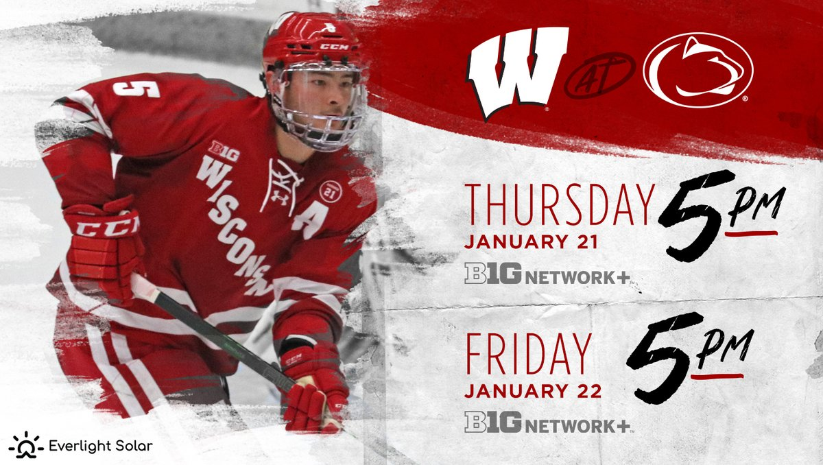 We've got game times for Thursday and Friday at Penn State  Both games available for streaming on Big Ten Network+  #OnWisconsin    @everlightsolar