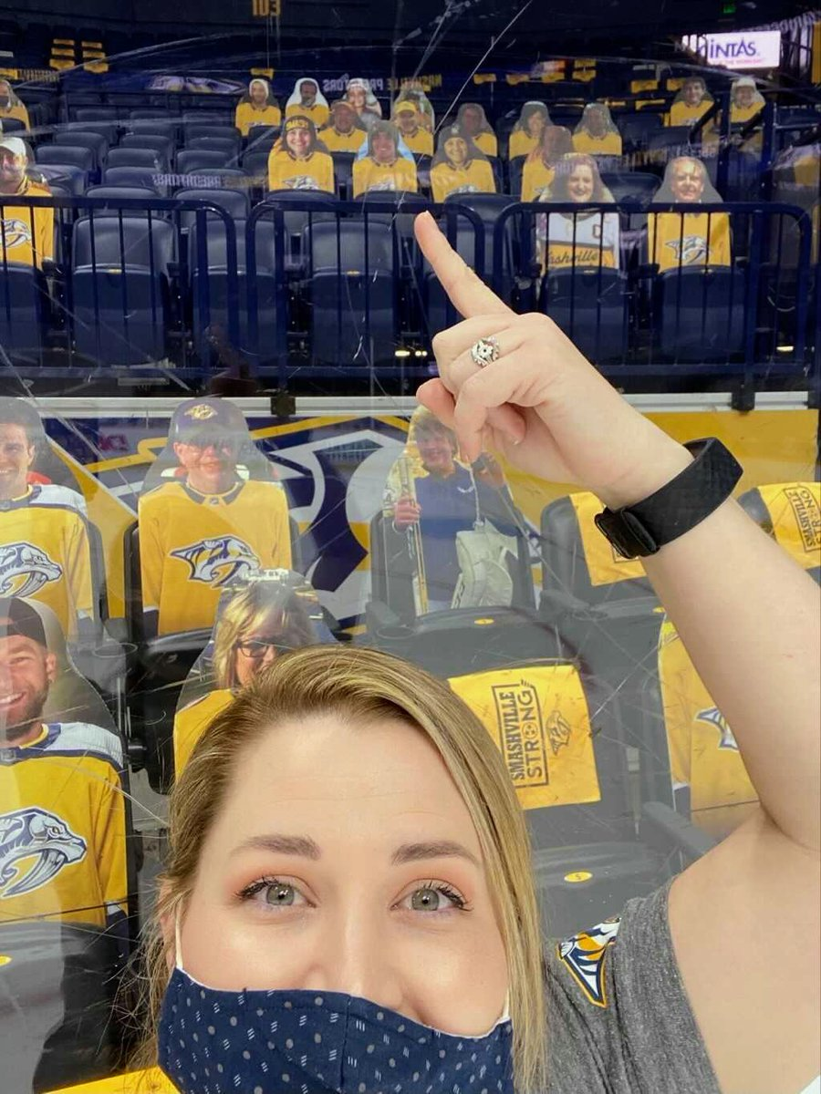 Thanks to our good friend DeMetri for locating our cardboard clan in the stands. It turns out that we're in our regular section 103 but somehow cardboard me has a better lower bowl seat than human me, I'm jealous of cardboard me hahahaha.... #GoPreds #Smashville #cardboardcutouts