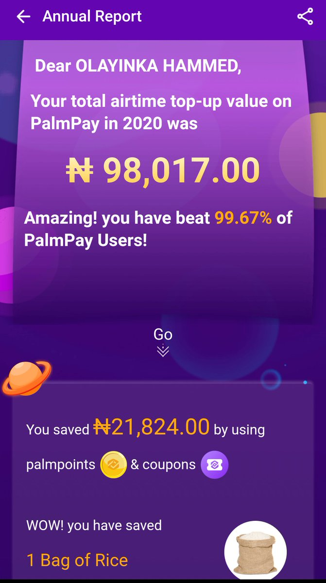 Wow I just saved 1 bag of rice 🕺🤸🏿‍♂🕺 This unbelievable #98k on airtime The BEST app in the world. ❤❤❤ 💯💯💯 @palmpayapp https://t.co/KHfBLnJpx1