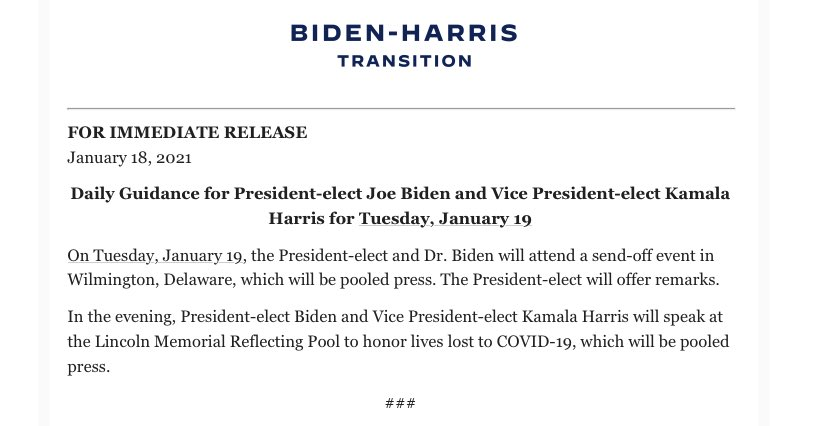 Biden will speak at the Reflecting Pool tomorrow to mark the toll of the pandemic.