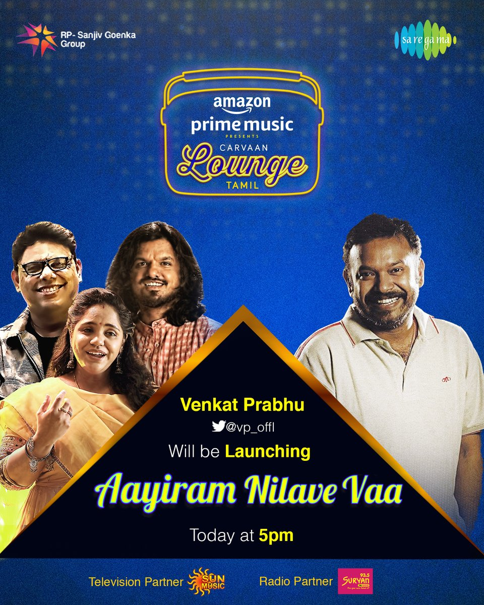 Ace Director @vp_offl will be releasing #CaarvaanLoungeTamil 4th track #AayiramNilaveVaa recreated by @CSathyaOfficial ft. @singersaindhavi & @soorajslive today @ 5pm !  Stay Tuned!!  #FirstOn @AmazonMusicIN #CarvaanLoungeOnAmazonMusic