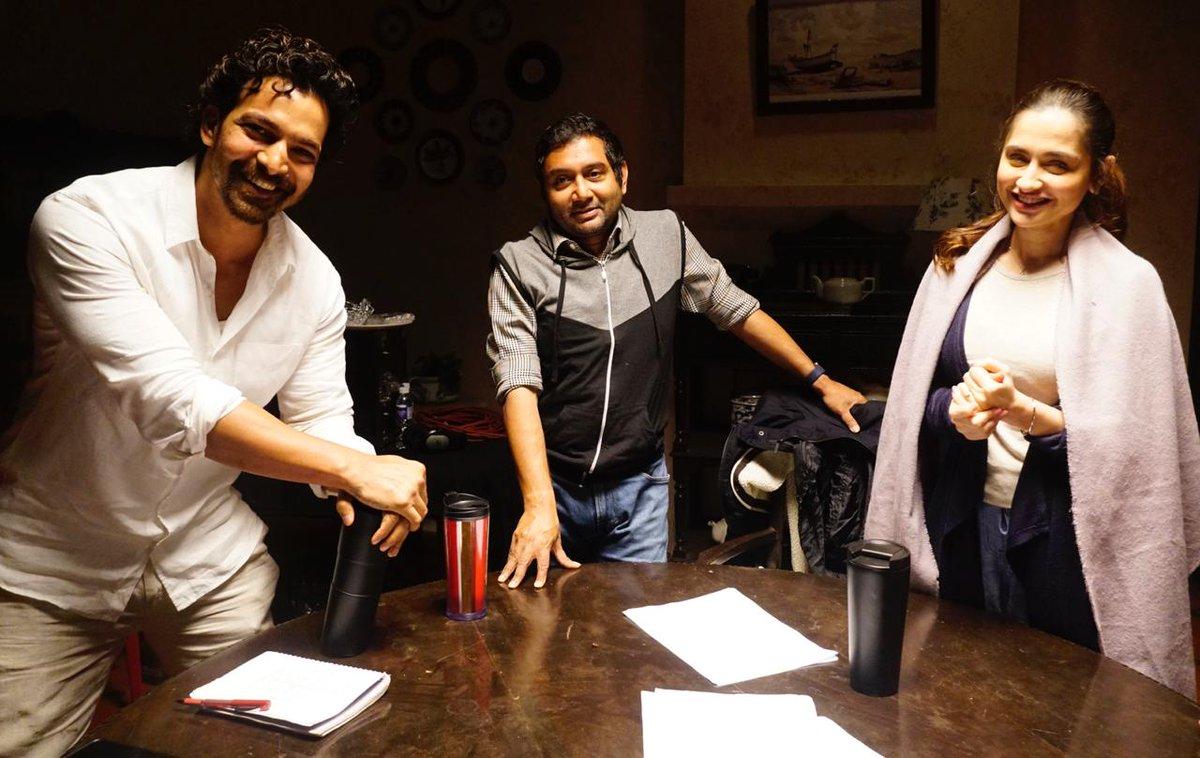 It's a WRAP for #kunfayakun, a taut thriller, starring @harsha_actor & @iamsanjeeda. Coming to cinemas soon!! Can't wait🤗  #Sidk #KunFayaKun @NaeemASiddiqui @kiranshroff @ghalib_asad @TouchwoodMM @KarshaEnt