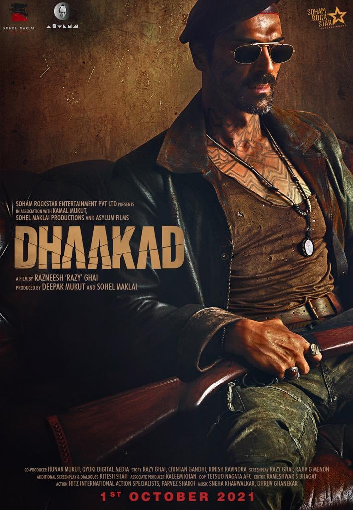 Evil has a new name! @rampalarjun is all set to play the slickest, and the deadliest villain- Rudraveer, in @kanganateam starrer @SohamRockstrEnt's #Dhaakad! Film to release in cinemas on 1st October 2021.   @RazyGhai #SohelMaklai @AsylumFilms  @divyadutta25