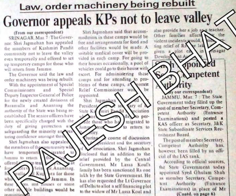 Then governor of Jammu and Kashmir, Jagmohan also pleaded Kashmiri Hindus to come back to Kashmir & not leave their homeland. But the terror of being killed by Jihadis inside Kashmir had not gone.  ISI created Jagmohan theory to mask genocide of #KashmiriHindus. 8/n