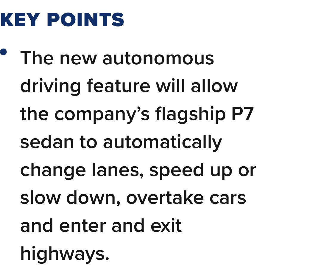 "$XPEV 's big news on autonomous driving garnered several major media coverages. Here is another one: ""In challenge to Tesla, Chinese electric carmaker Xpeng releases autonomous features for highway driving"" - CNBC cnbc.com/2021/01/18/chi… #BigDeal"