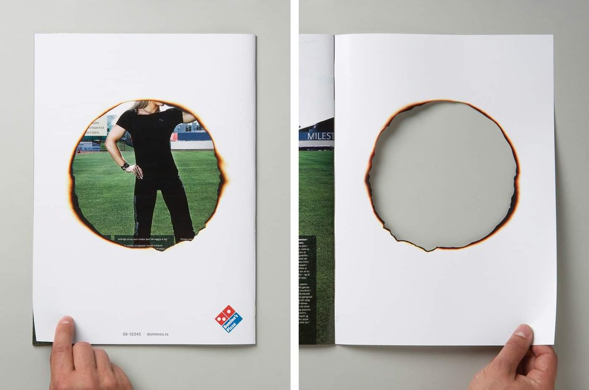 Pizza so hot ! In this print ad Domino's displays how hot their Pizzas are that it burned through the back of your magazine #ViralAdsNow #PrintAdvertising #Marketing #DigitalMarketing #OnlineMarketing #Dominos #Pizza