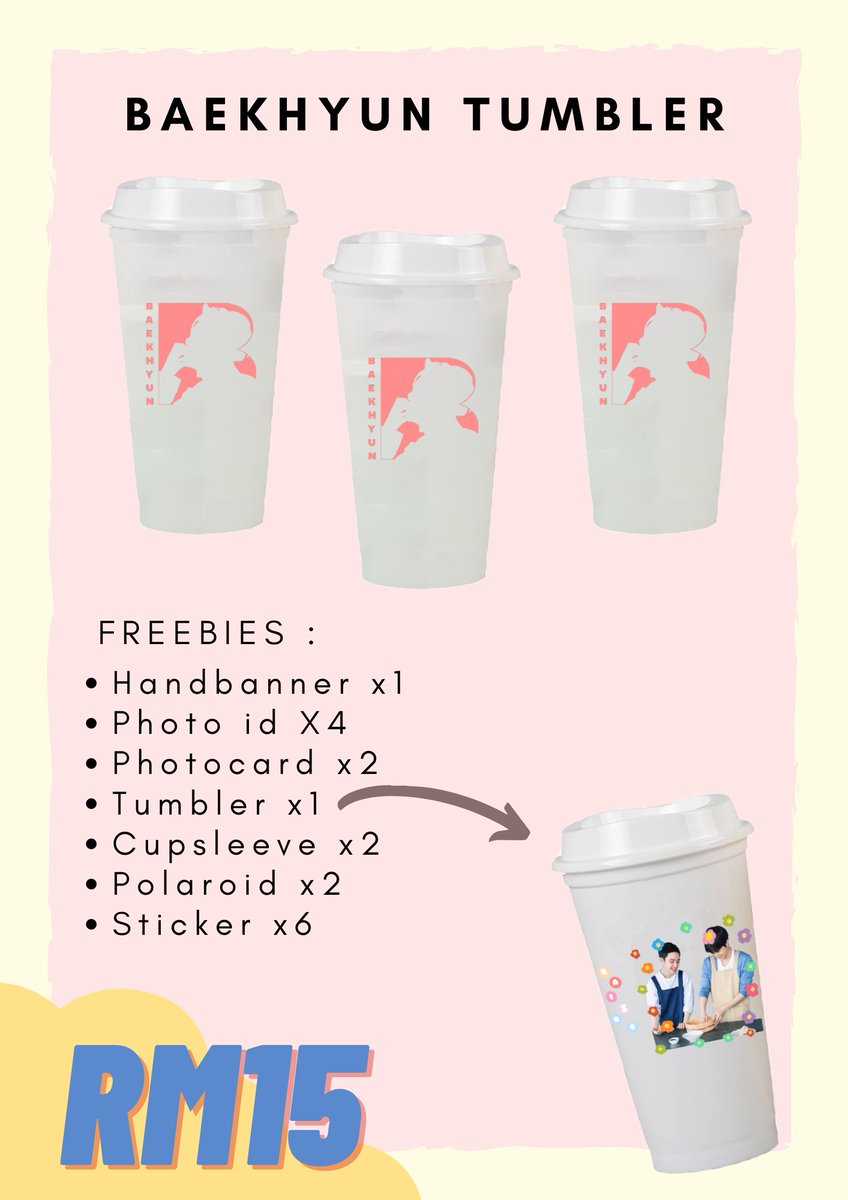 Only for today, buy 1 Baekhyun Tumbler will get 18 freebies!! Not 1, not 2, but 18 Freebies incld 1 free tumbler!! grab yours now before sold out!! Buy 3 cups and above will get free postage. Each cup only RM15~ DM to order~