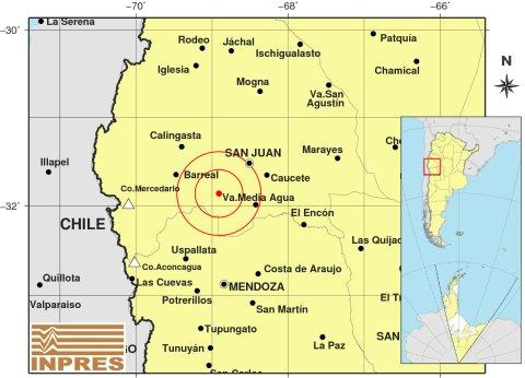 Información del sismo:   Imagen del epicentro en San Juan. El evento sucedió a las 23:46 hora local. Se sintió con fuerza en Mendoza. Envianos tu reporte