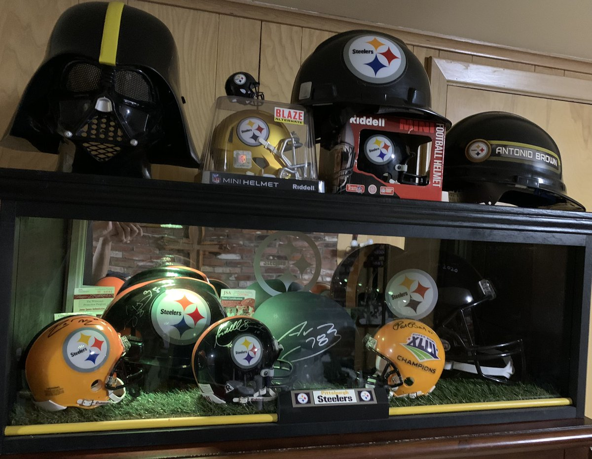 Big score today after work. All finished and set up left to right: Woodley, Hampton (Hardhat), Stewart, Villanueva (Army Helmet), Bailey & Cowher. New Jersey's and both signed and unsigned and Chuck Noll signed picture!!! #HereWeGo  #SteelersNation now where yo put my FS Miller?