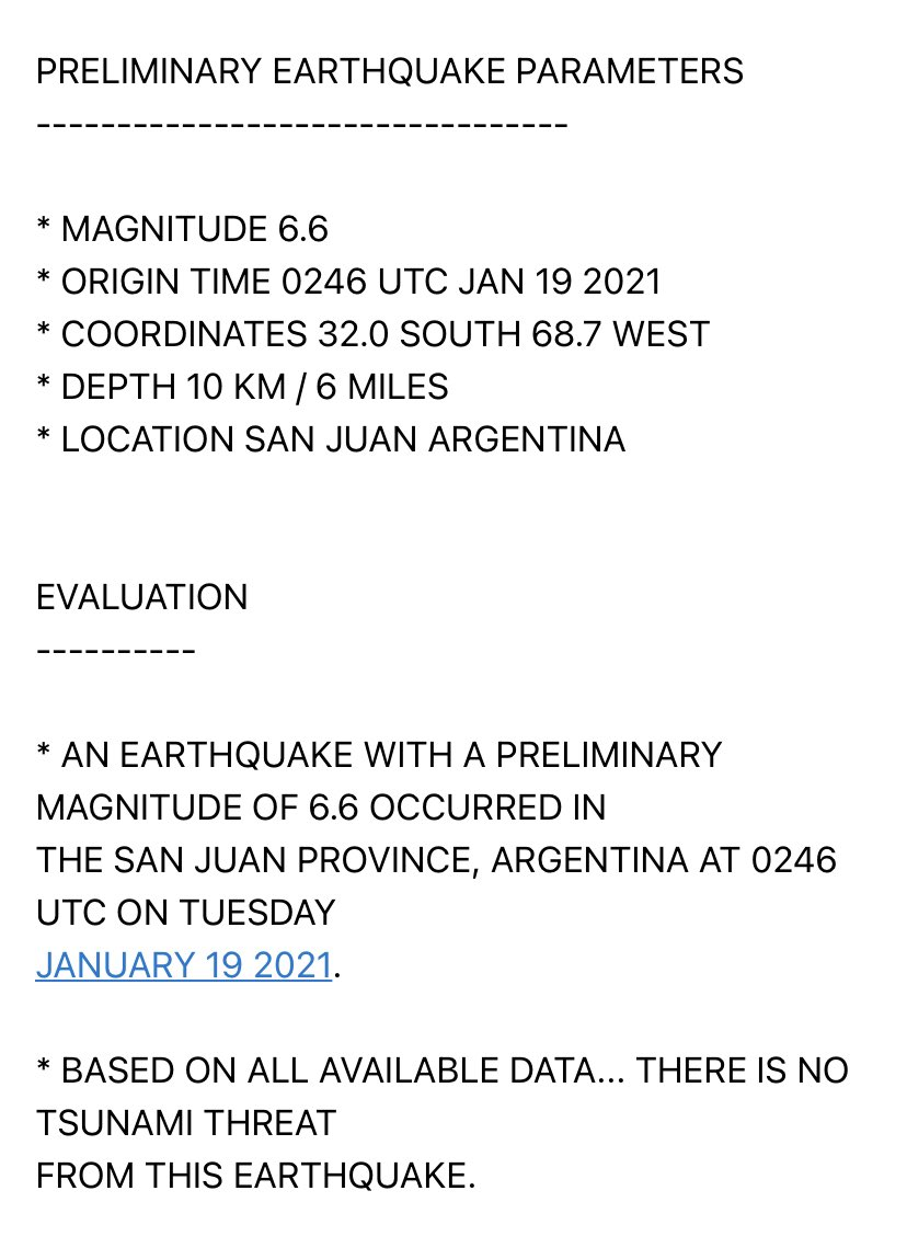 Replying to @W7VOA: No tsunami threat from M6.6 #Argentina #quake, per @NWS_PTWC.