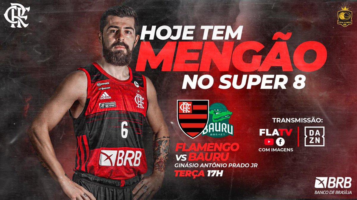 HOJE TEM MENGÃO! É DIA DE SEMIFINAL E A #FLATV TRANSMITE AO VIVO!  🏆 Super 8 🏀 Flamengo x Bauru 🏟 Ginásio Antônio Prado Jr 🕑 17h 📺 FlaTV (ao vivo e COM IMAGENS) e @DAZN_BRA   #FlaBasquete #NaçãoBRB