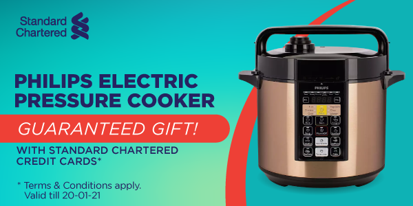 Get #Philips Electric Pressure Cooker HD2139 (6.0L) for FREE when apply for Credit Card from #StandardChartered: