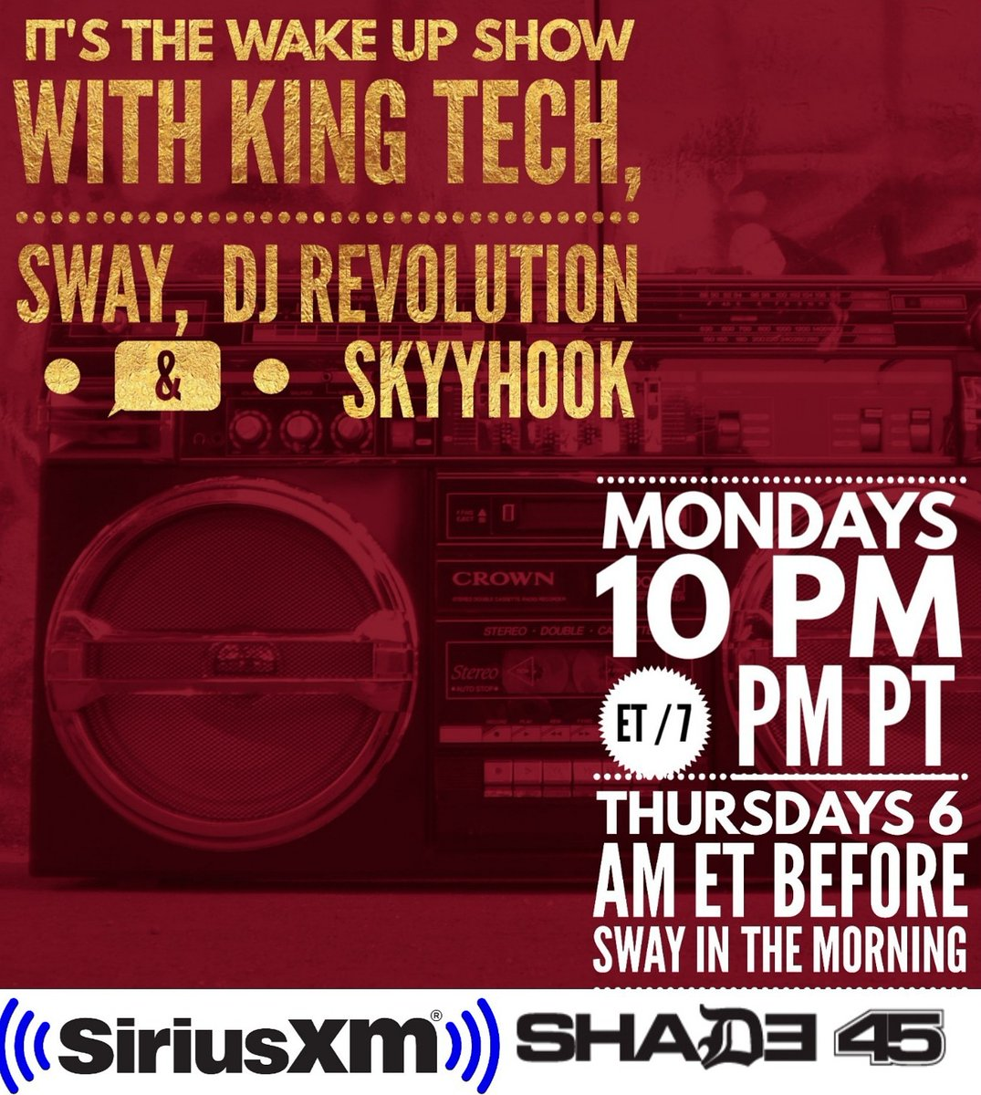 TONIGHT IT'S THE Skyyhook DIAMONDS IN THE ROUGH YEAR IN REVIEW FOR THE YEAR 20X2 ON THE @wakeupshow w/ King Tech @RealSway @DJRevolution & @SkyyhookRadio & it's on NOW! GET HERE!! Only on @SIRIUSXM @Shade45 #MumbleFreeRapRadio #HipHopLife #HIPHOPCULTURE #DJLife #Shade45