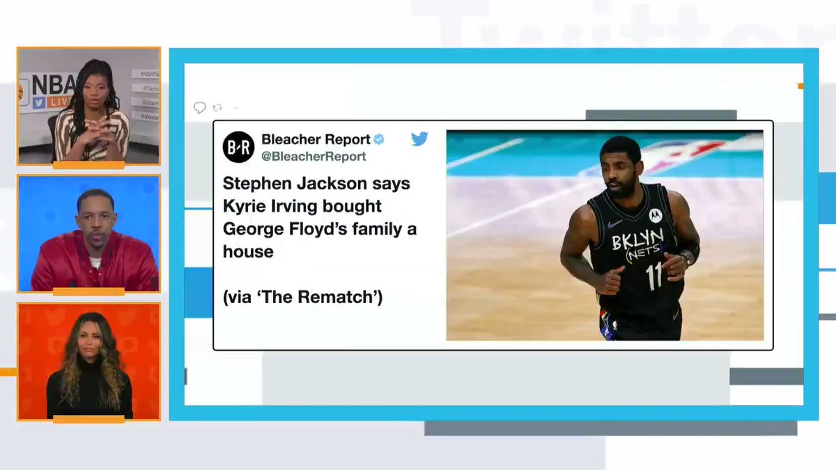 """""""He has really tried, and made it a big part of his life, to help other people.""""  @TaylorRooks on Kyrie #NBATwitterLive"""