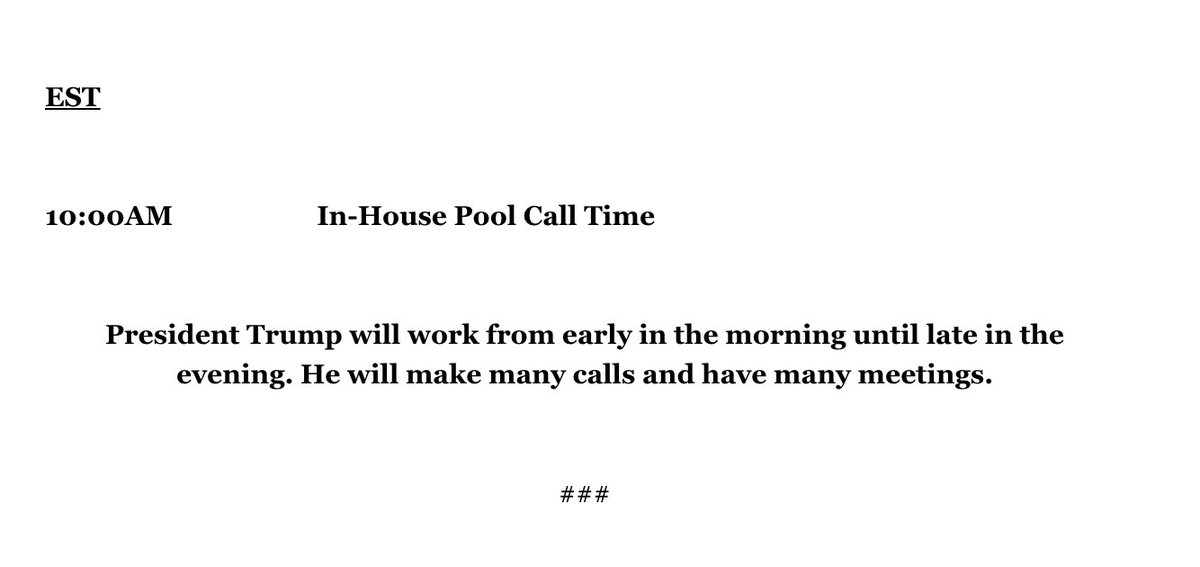 Trump's schedule for his final day in office - a cut and paste job from the last several days. https://t.co/yvxgrzf3O1