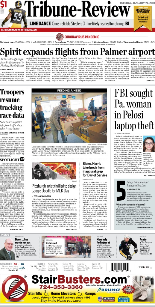 Replying to @TribLIVE: Here's an early look at Tuesday's edition of the Tribune-Review.