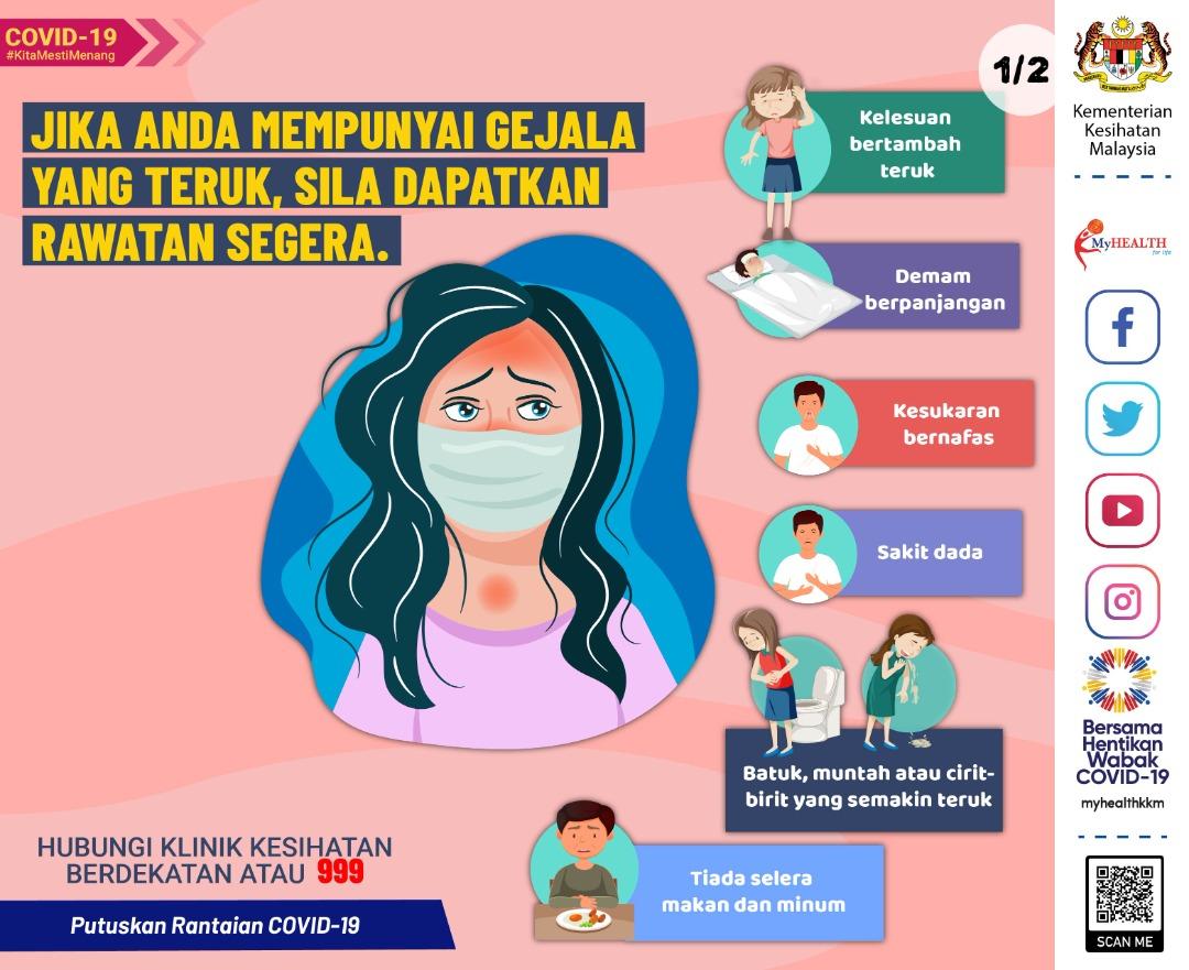 """KKMalaysia🇲🇾 on Twitter: """"Jika anda atau anak anda mempunyai gejala yang  teruk, sila dapatkan rawatan segera. Hubungi klinik kesihatan terdekat atau  999. Apakah gejala yang teruk itu? #COVID19 #JagaNegaraKita…  https://t.co/3riguU1lkb"""""""